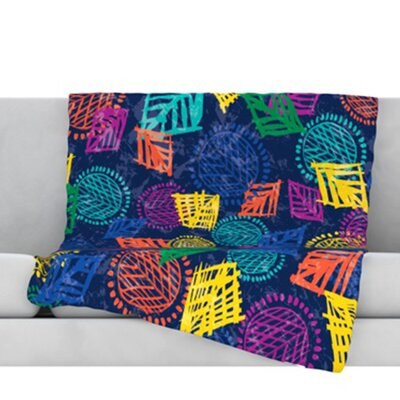 African Beat Throw Blanket Color: Blue, Size: 40 L x 30 W