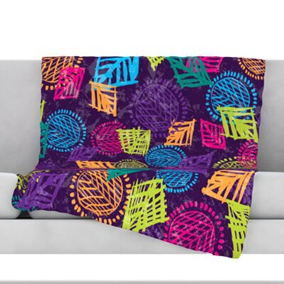 African Beat Throw Blanket Color: Purple, Size: 60 L x 50 W