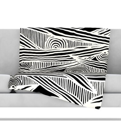Graphique Throw Blanket Color: Black, Size: 60 L x 50 W