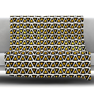 Aztec Triangles Gold Fleece Throw Blanket Size: 40 L x 30 W