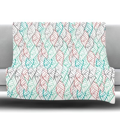 Ethnic Leaves Fleece Throw Blanket Size: 80 L x 60 W