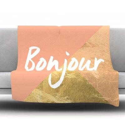Bonjour Gold Fleece Blanket Size: 80