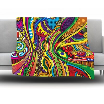 Doodle by Roberlan Fleece Throw Blanket Size: 90 H x 90 W x 1 D