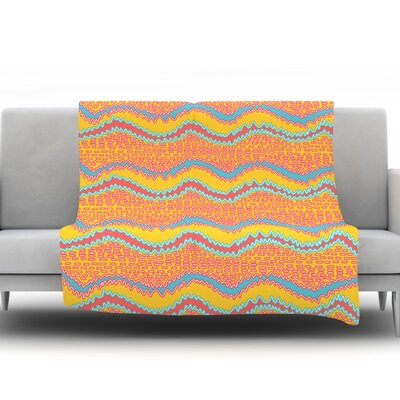 Waves by Nandita Singh Fleece Throw Blanket Size: 90 H x 90 W x 1 D