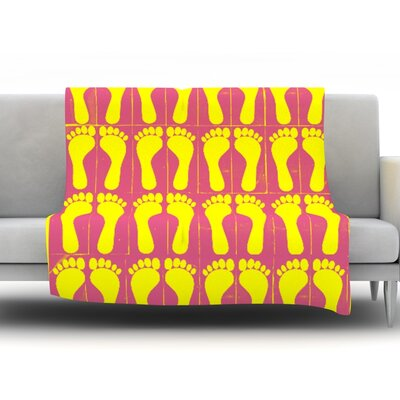 Footprints by Sreetama Ray Fleece Throw Blanket Size: 40 H x 30 W x 1 D, Color: Yellow/Pink