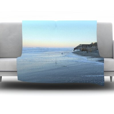 Sand Surf Sunshine by Robin Dickinson Fleece Throw Blanket Size: 90 H x 90 W x 1 D
