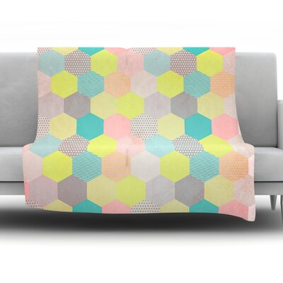 Pastel Hexagon by Louise Machado Fleece Throw Blanket Size: 90 H x 90 W x 1 D
