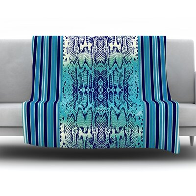 Aqua Snake by Nina May Fleece Throw Blanket Size: 80 H x 60 W x 1 D