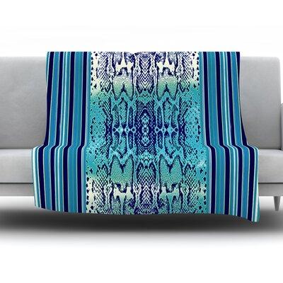 Aqua Snake by Nina May Fleece Throw Blanket Size: 60 H x 50 W x 1 D