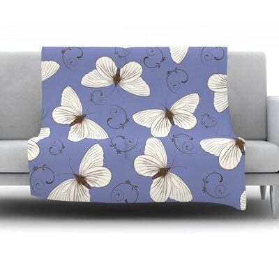 Butterflies by Louise Fleece Throw Blanket Size: 60 H x 50 W x 1 D
