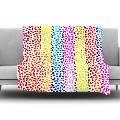 Rainbow Arrows by Sreetama Ray Fleece Throw Blanket Size: 80 H x 60 W x 1 D