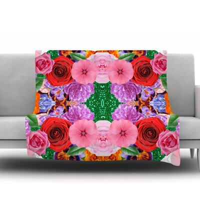 Kaleidoscopic Flowers by Vasare Nar Fleece Throw Blanket Size: 80 H x 60 W x 1 D