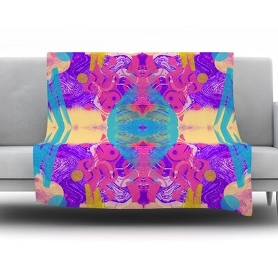 Glitch Kaleidoscope by Vasare Nar Fleece Throw Blanket Size: 90 H x 90 W x 1 D