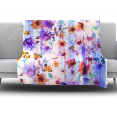 Floral Ombre by Nikki Strange Fleece Throw Blanket Size: 40 H x 30 W x 1 D