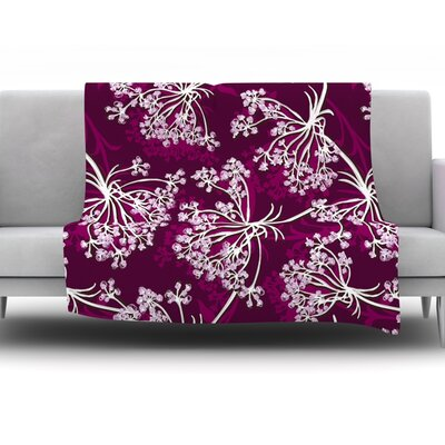 Squiggly Floral by Suzie Tremel Fleece Throw Blanket Size: 80 H x 60 W x 1 D