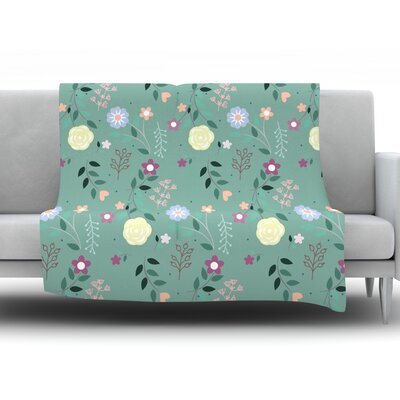 Flora by Louise Fleece Throw Blanket Size: 80 H x 60 W x 1 D