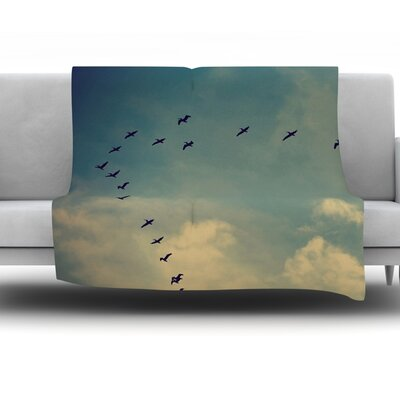 Pterodactyls by Robin Dickinson Fleece Throw Blanket Size: 80 H x 60 W x 1 D