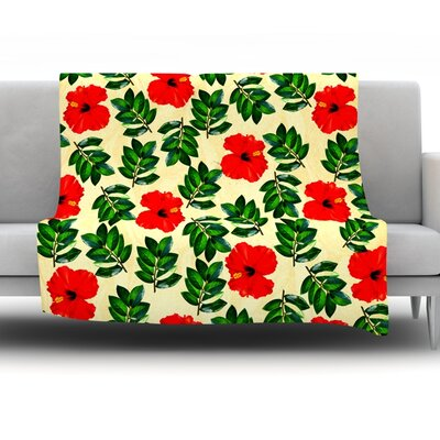 No More Peonies by Sreetama Ray Fleece Throw Blanket Size: 80 H x 60 W x 1 D