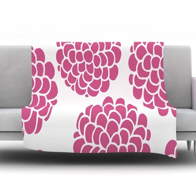 Raspberry Blossoms by Pom Graphic Design Fleece Throw Blanket Size: 90 H x 90 W x 1 D