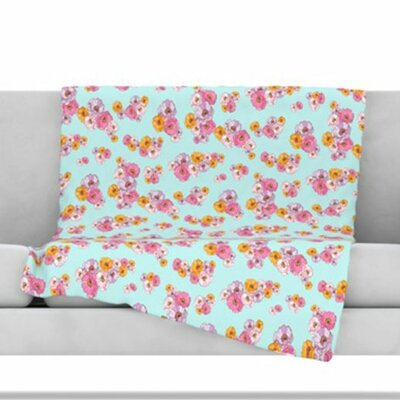 Paper Flower Fleece Throw Blanket Size: 40 L x 30 W
