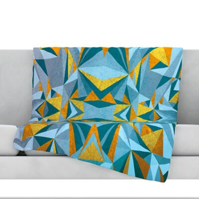Abstraction Fleece Throw Blanket Color: Blue and Gold, Size: 80 L x 60 W