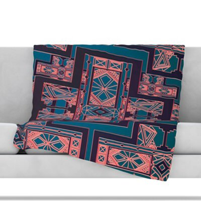 Golden Art Deco Fleece Throw Blanket Size: 40 L x 30 W, Color: Blue and Coral