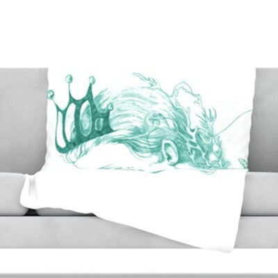 Queen of The Sea Fleece Throw Blanket Color: Green, Size: 60 L x 50 W