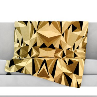 Abstraction Fleece Throw Blanket Size: 40 L x 30 W, Color: Gold and Black