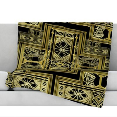 Golden Art Deco Fleece Throw Blanket Size: 80 L x 60 W, Color: Gold and Black