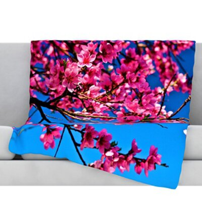 Flowers Fleece Throw Blanket Size: 60