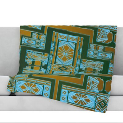 Golden Art Deco Fleece Throw Blanket Size: 80 L x 60 W, Color: Green and Blue