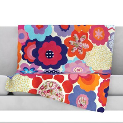 Patchwork Flowers Fleece Throw Blanket Size: 80 L x 60 W
