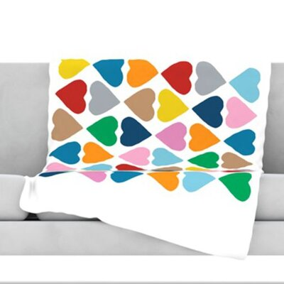 Diamond Hearts Fleece Throw Blanket Size: 40 L x 30 W, Color: Multi