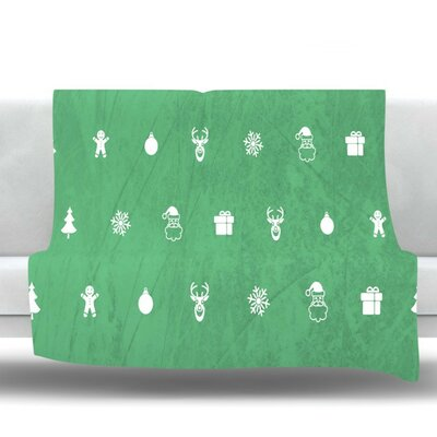 Cheery by Snap Studio Fleece Throw Blanket Color: Green, Size: 60 H x 50 W x 1 D