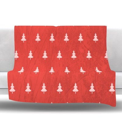 Pine by Snap Studio Fleece Throw Blanket Size: 40 H x 30 W x 1 D, Color: Red