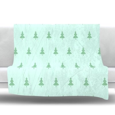 Pine by Snap Studio Fleece Throw Blanket Size: 90 H x 90 W x 1 D, Color: Green