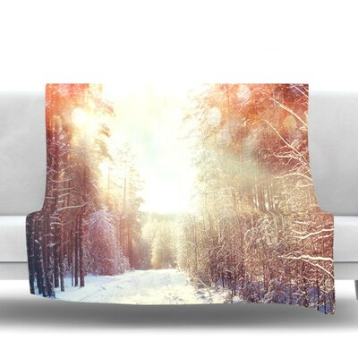 Winter Walkway by Snap Studio Fleece Throw Blanket Size: 80 H x 60 W x 1 D