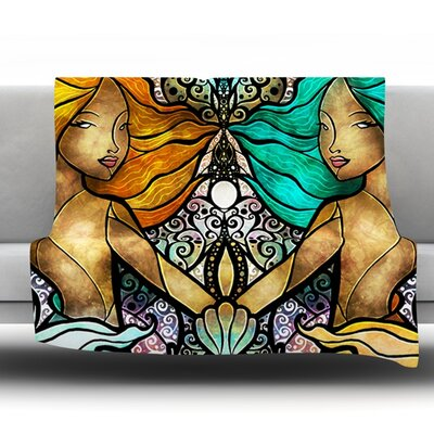 Mermaid Twins Throw Blanket Size: 80 L x 60 W