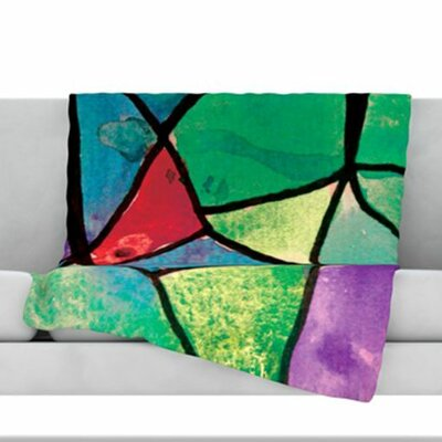 Stain Glass 1 Fleece Throw Blanket Size: 60 L x 50 W