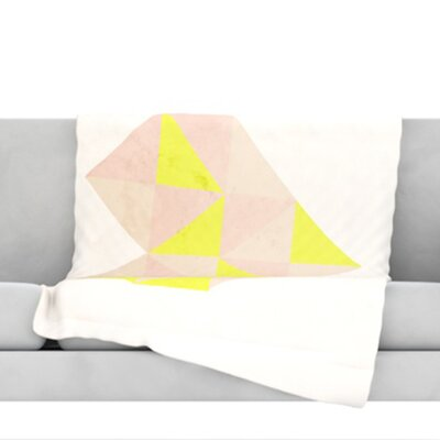 Geo Heart FleeceThrow Blanket Color: Pink, Size: 60 L x 50 W