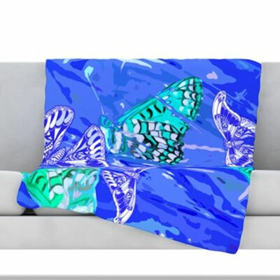 Butterflies Party Fleece Throw Blanket Color: Blue, Size: 80 L x 60 W