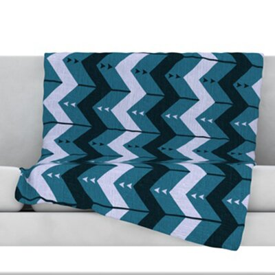 Chevron Dance Fleece Throw Blanket Size: 40 L x 30 W, Color: Blue