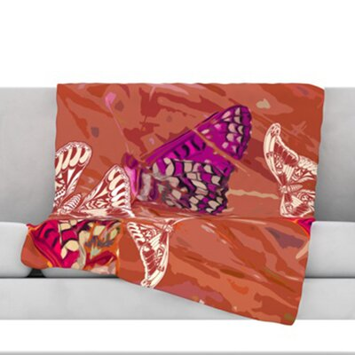 Butterflies Party Fleece Throw Blanket Size: 80 L x 60 W, Color: Orange