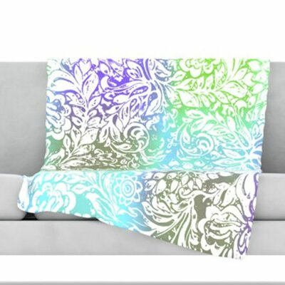 Blue Bloom Softly for You Fleece Throw Blanket Size: 80 L x 60 W