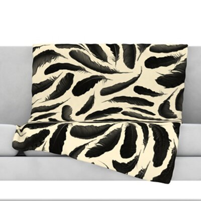 Feather Pattern Fleece Throw Blanket Size: 80 L x 60 W