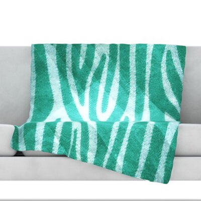 Zebra Texture Fleece Throw Blanket Size: 80 L x 60 W, Color: Blue