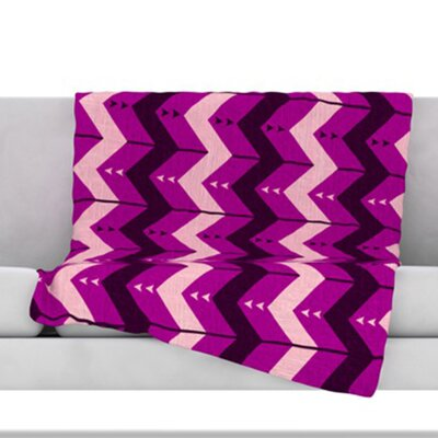 Chevron Dance Fleece Throw Blanket Size: 60 L x 50 W, Color: Purple