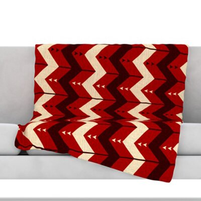 Chevron Dance Fleece Throw Blanket Size: 60 L x 50 W, Color: Red