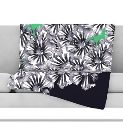 Inky Flowers On Green Throw Blanket Size: 60 L x 50 W