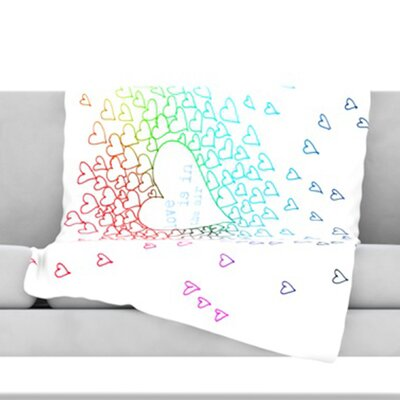 Rainbow Hearts Fleece Throw Blanket Size: 60 L x 50 W